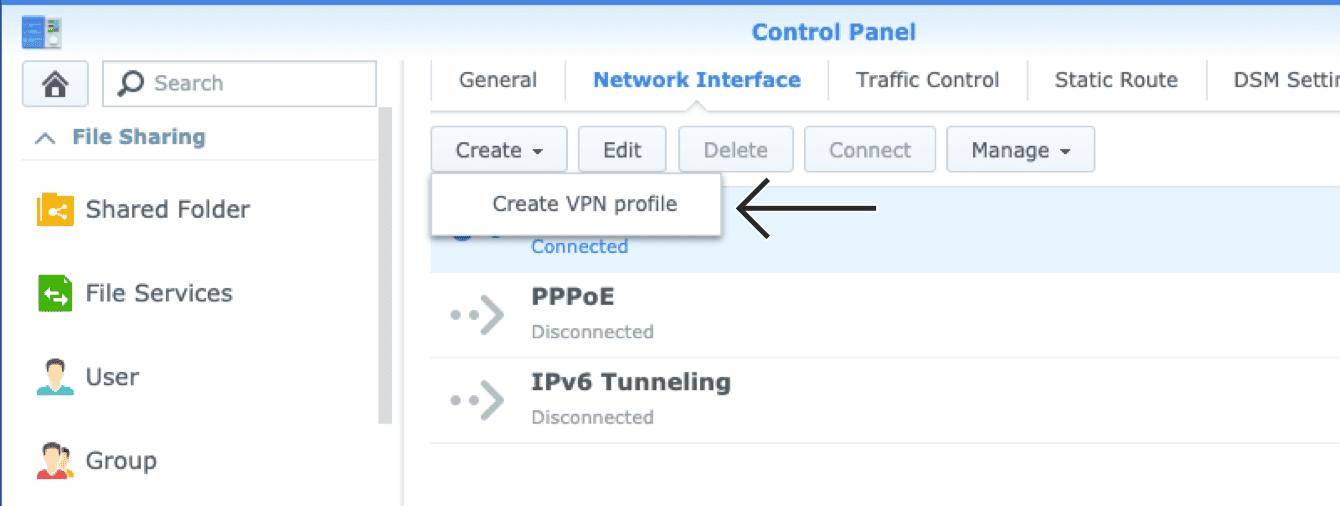 """Click """"Create VPN profile."""""""