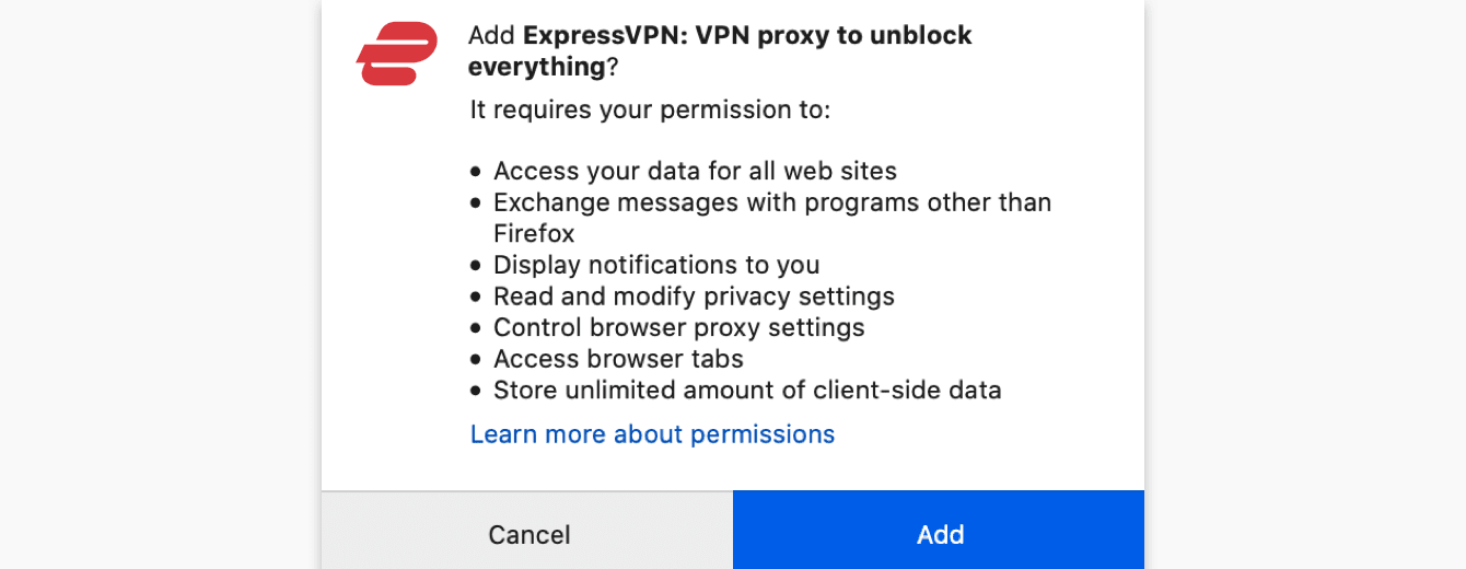 """To add the ExpressVPN browser extension to your browser, click """"Add."""""""