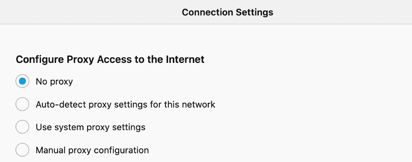 """Select either """"no proxy"""" or """"Auto-detect proxy settings for this network."""""""