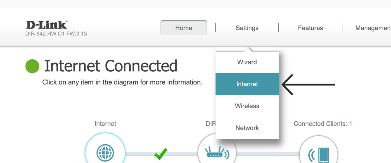 """Click """"Internet."""""""
