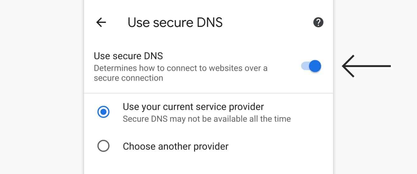 "Toggle ""Use secure DNS"" off."