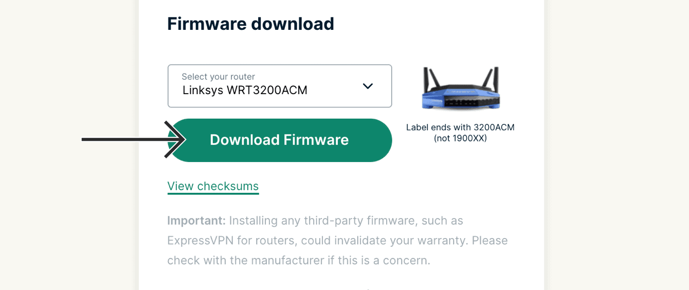"""Select your router, then click """"Download Firmware."""""""