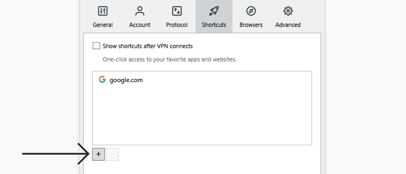 """Click the """"plus sign"""" to add a shortcut."""