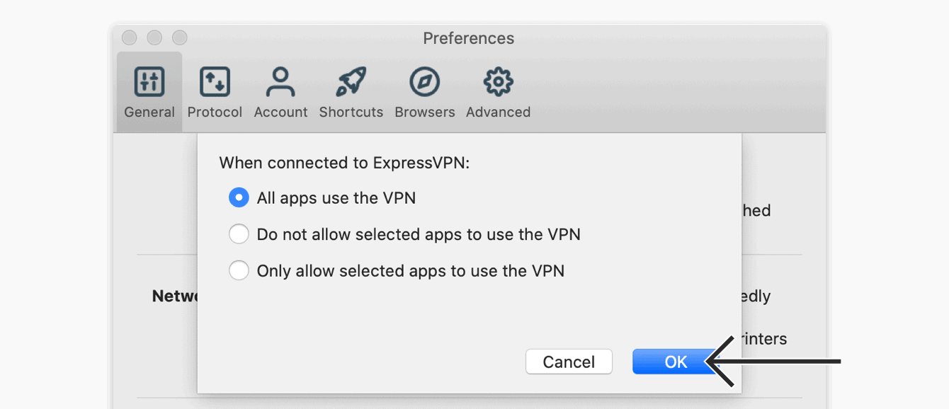 """Select """"All apps use the VPN,"""" then click """"OK."""""""
