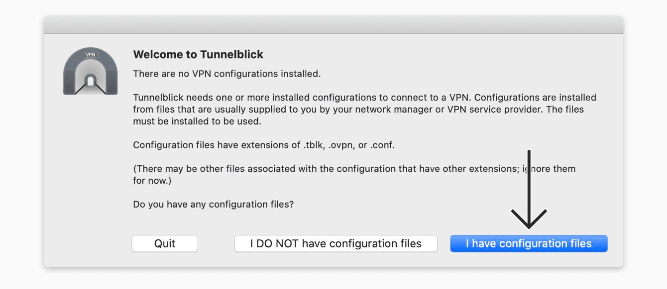 "Click ""I have configuration files."""