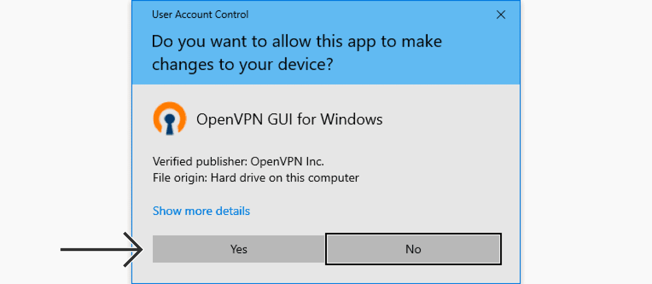 """When prompted to allow the OpenVPN GUI for Windows to make changes to your device, click """"Yes."""""""