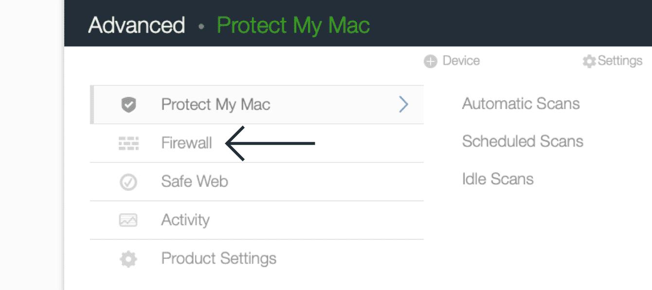 """Click """"Firewall."""""""