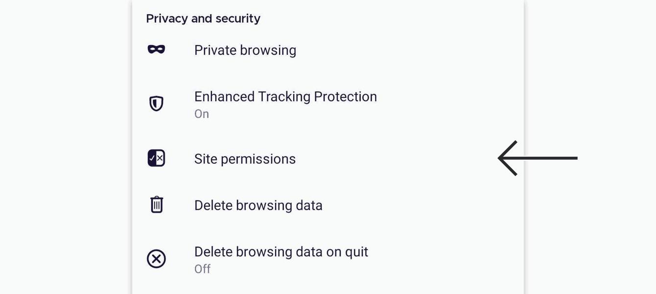 "Tap ""Site permissions."""