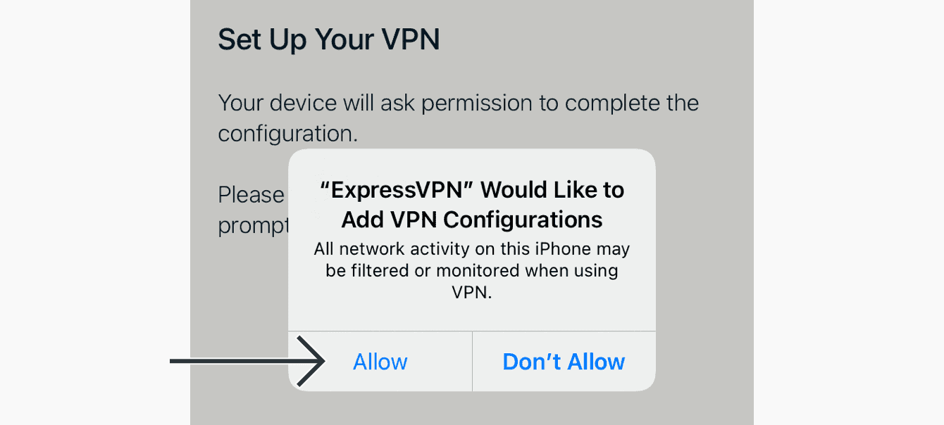 """When prompted to add VPN configurations, tap """"Allow."""""""