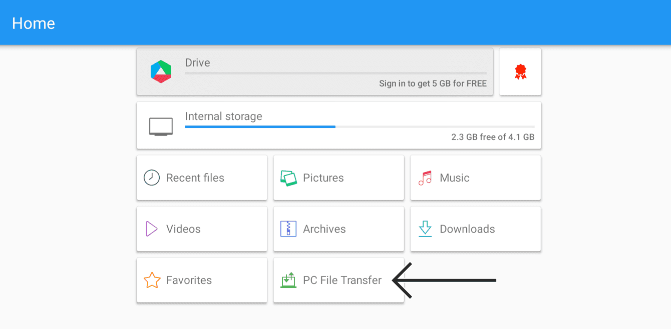 "Select ""PC File Transfer."""