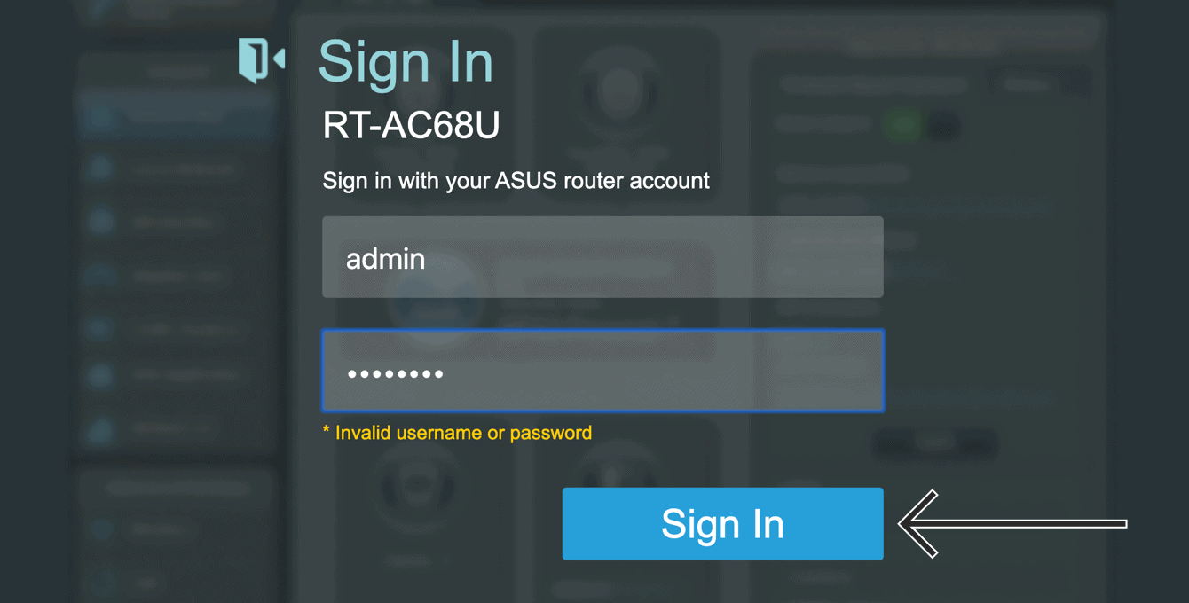 Sign in to the Asus admin with your admin username and password.