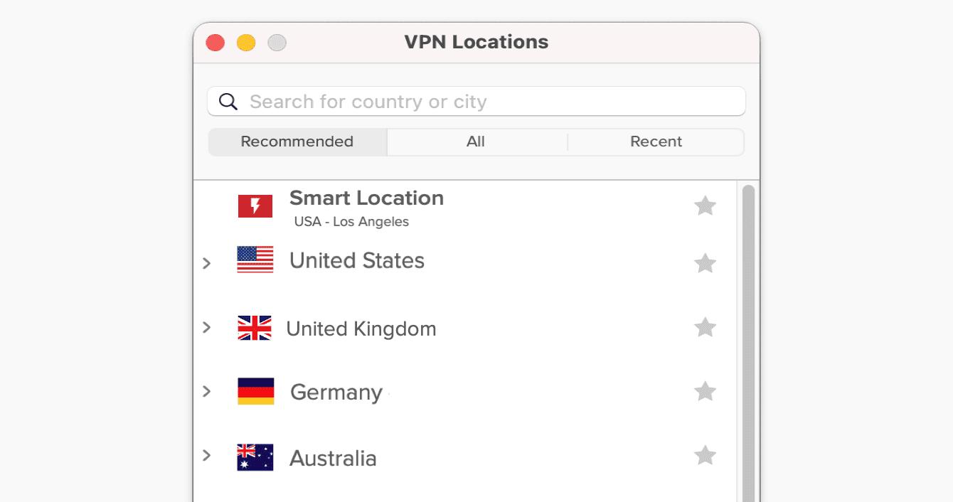 """Het """"Aanbevolen"""" tabblad in de ExpressVPN app."""