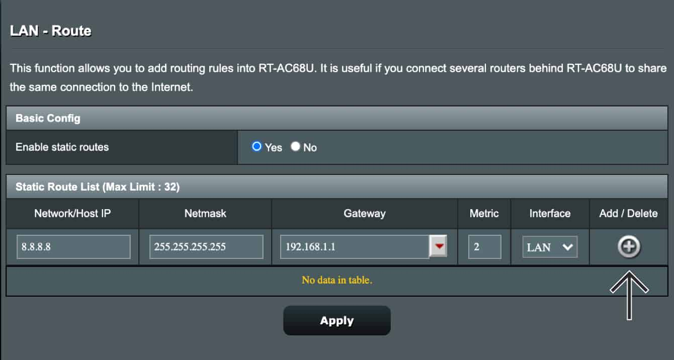 Add a network to the Static Route List.
