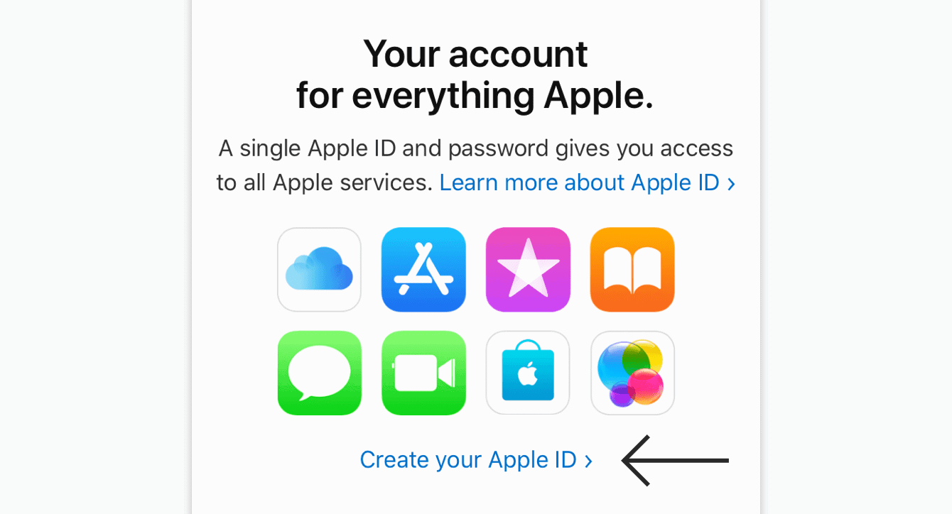 """Tap """"Create your Apple ID."""""""