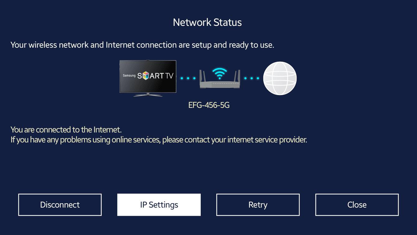 "Select ""IP Settings."""