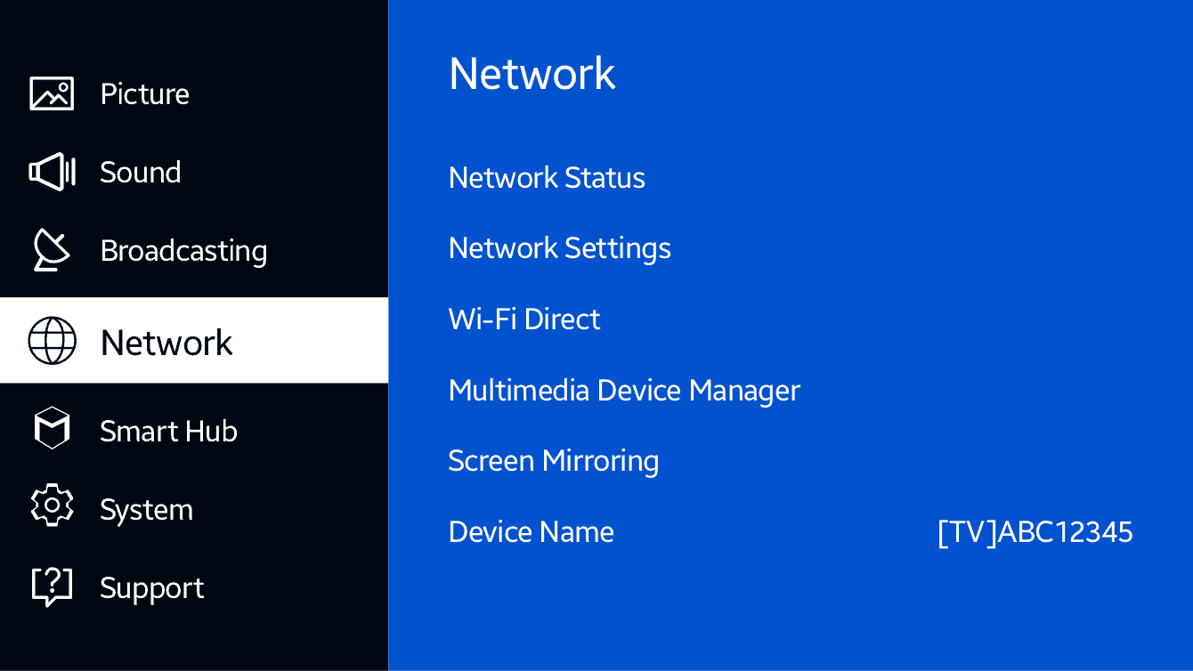 """Select """"Network"""" on the TV's menu."""