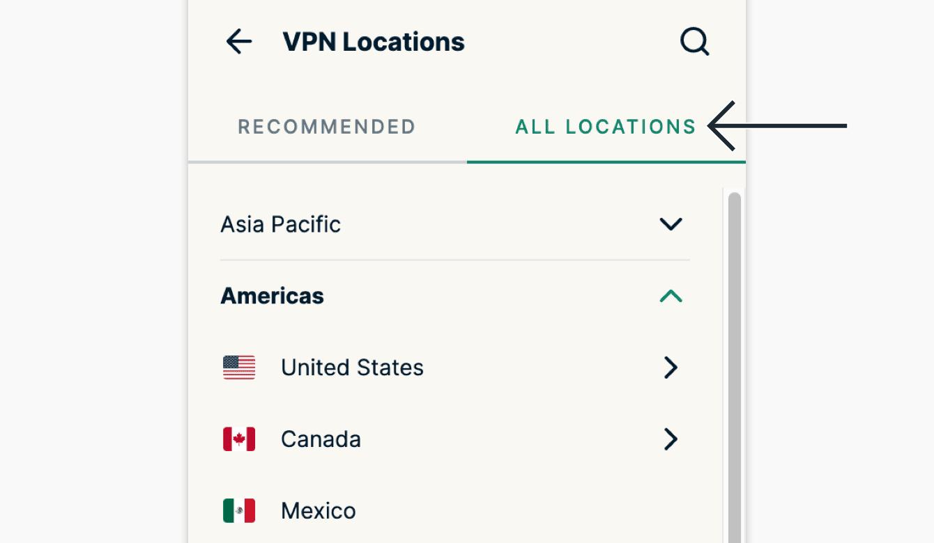 """Clique em """"Todas as """" Localizações para ver a lista de todos os locais VPN disponíveis."""