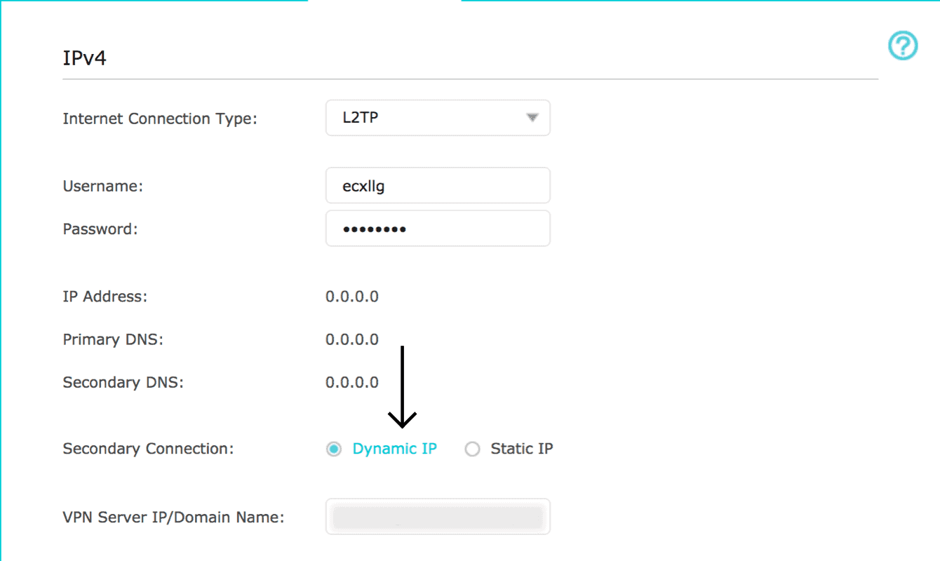 """Set the Secondary Connection to """"Dynamic IP."""""""