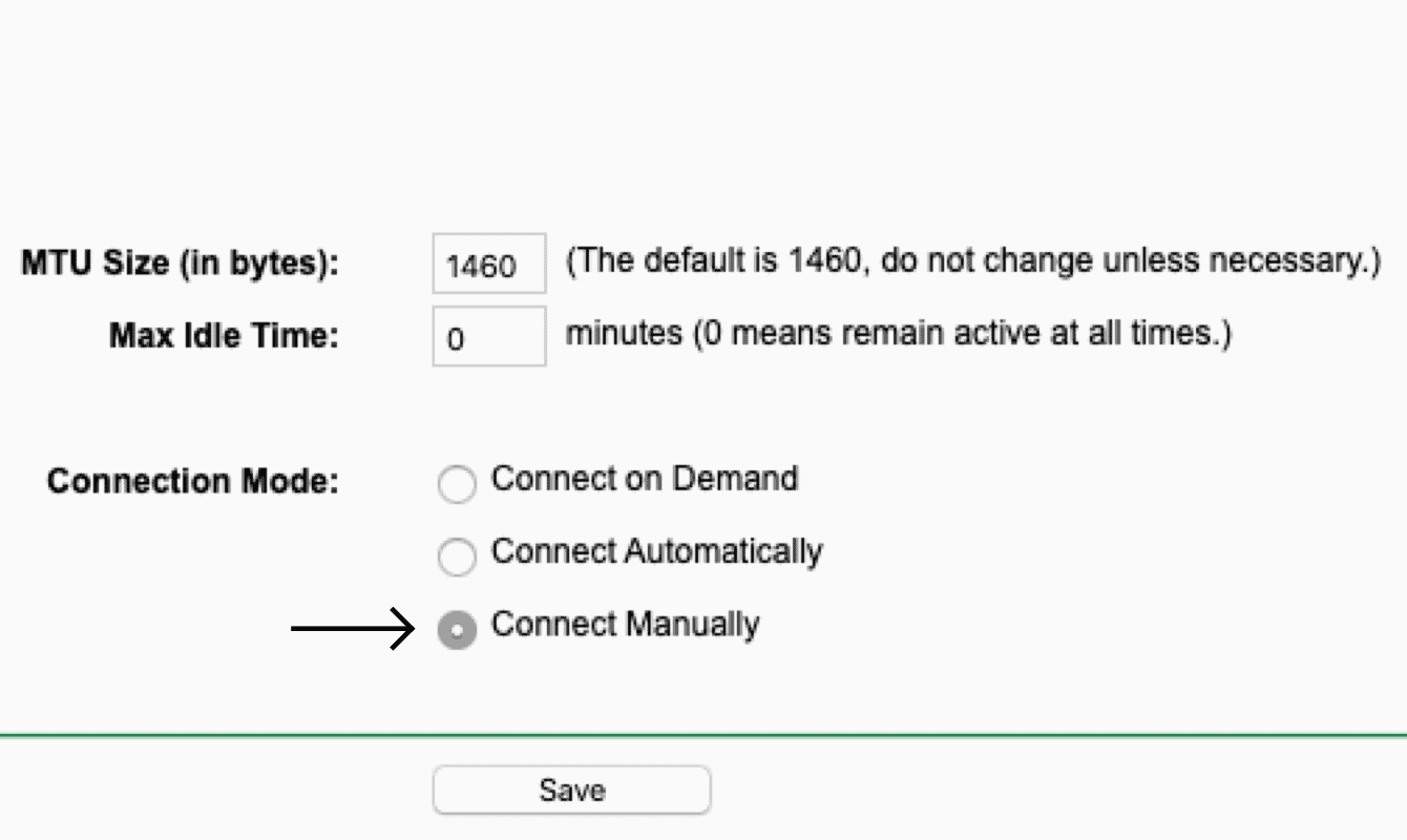"""Set the Connection Mode to """"Connect Manually."""""""