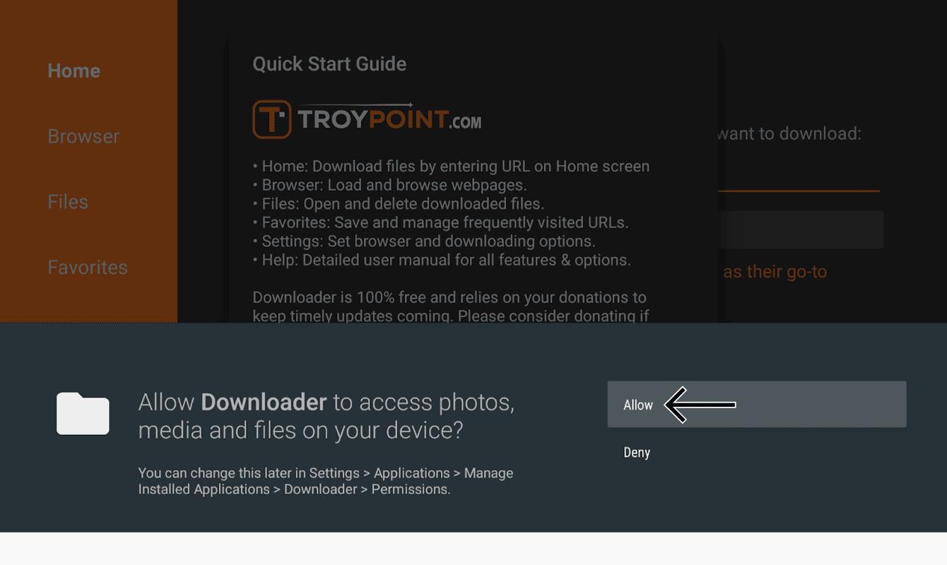 """Wählen Sie """"Zulassen"""", damit der Downloader auf Fotos, Medien und Dateien zugreifen kann."""