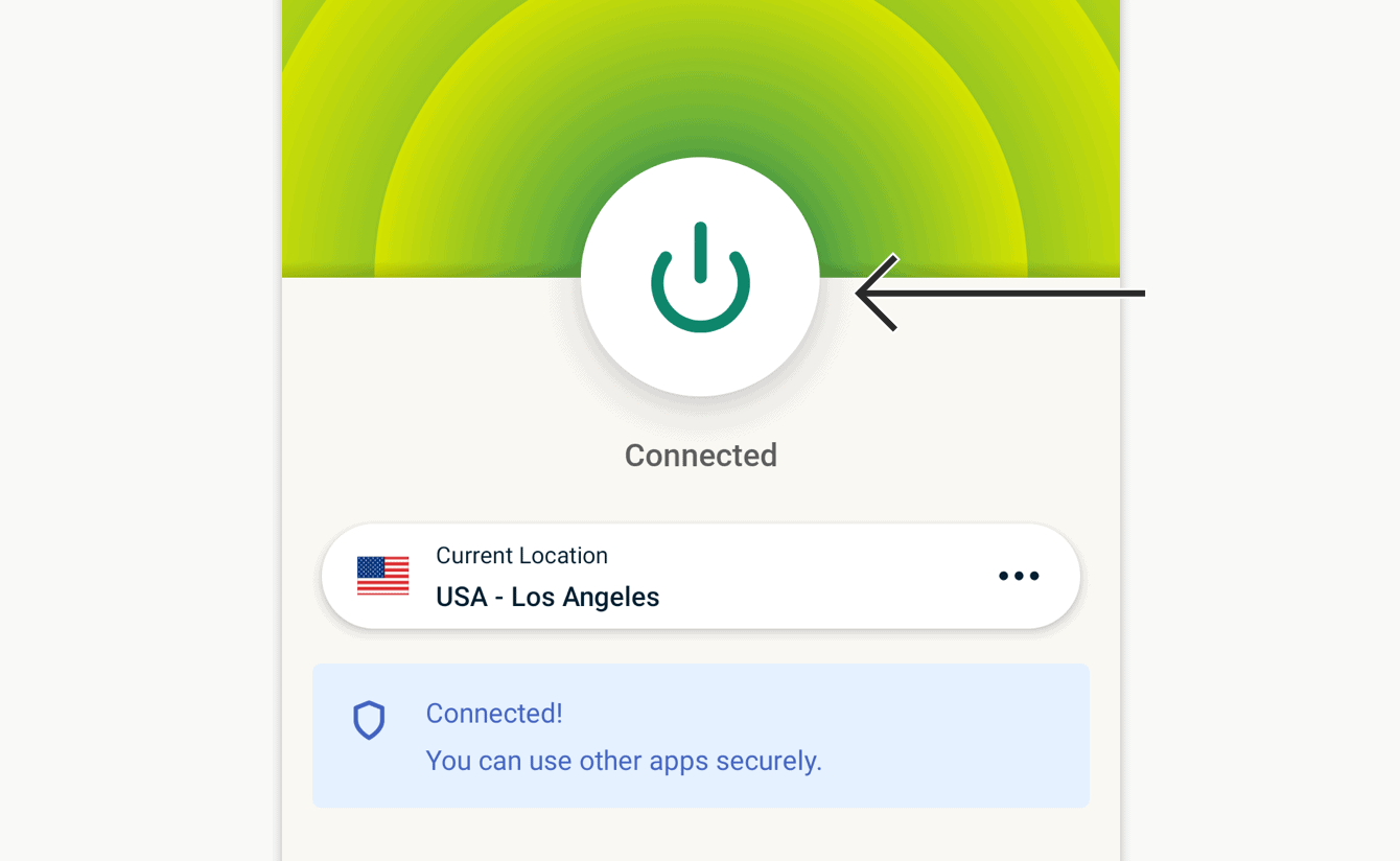 Click the On Button to disconnect.
