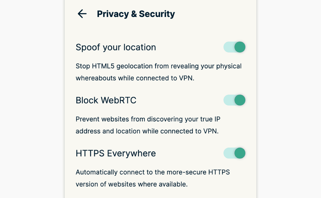 """Você pode aplicar recursos adicionais de privacidade e segurança em """"Privacidade & Segurança."""""""