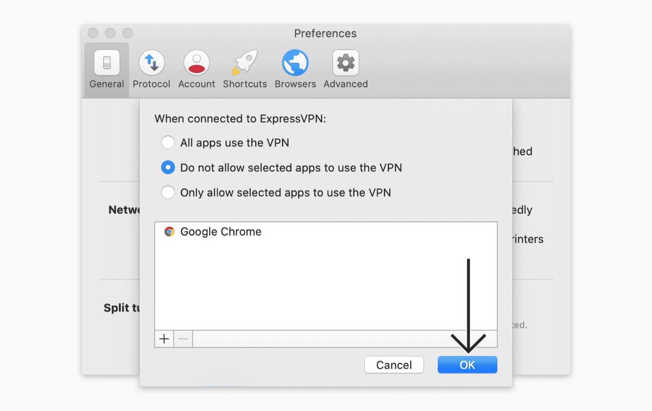 """Select """"Do not allow selected apps to use the VPN"""", then click """"OK."""""""