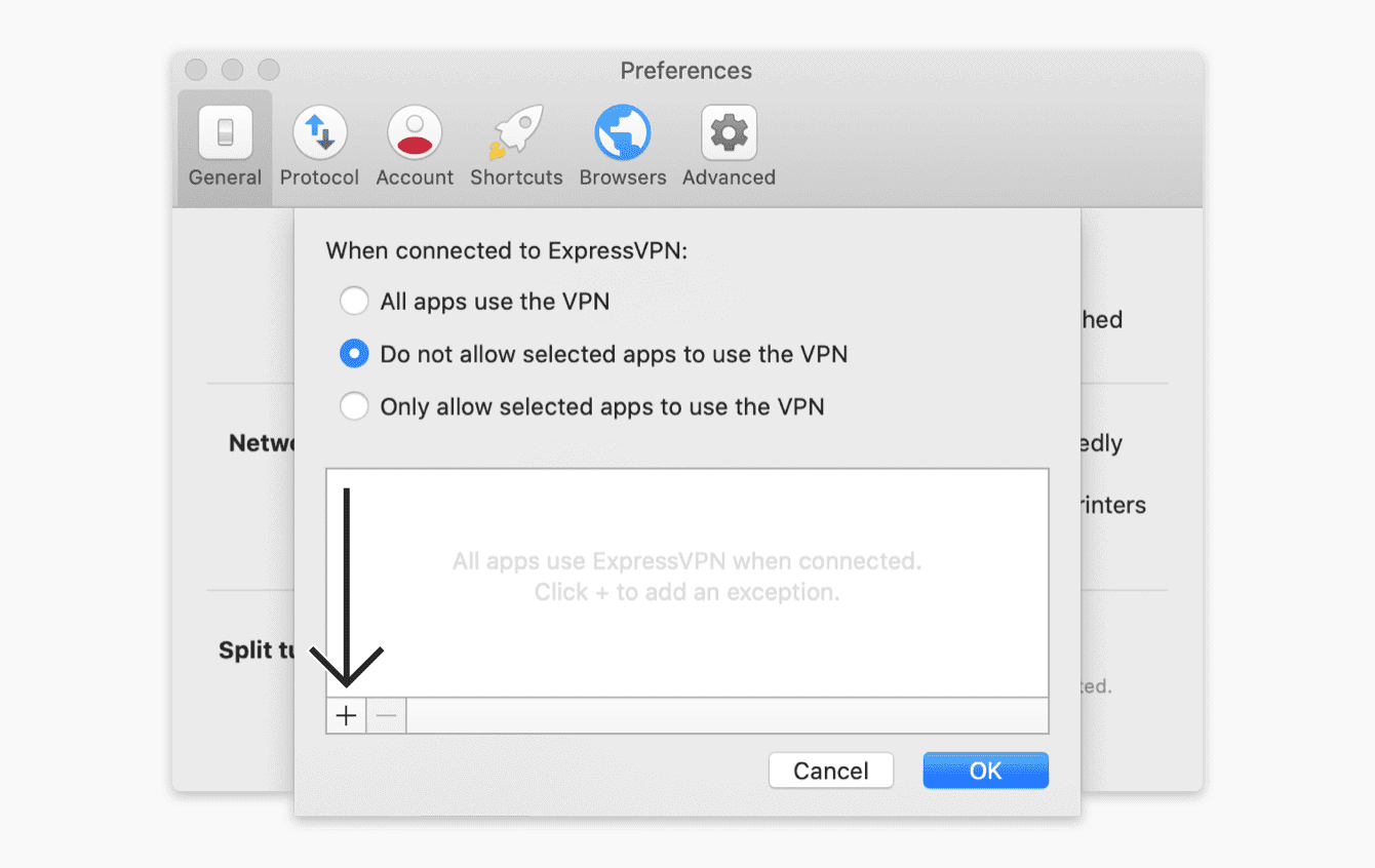 """Select """"Do not allow selected apps to use the VPN"""", then click the plus sign."""