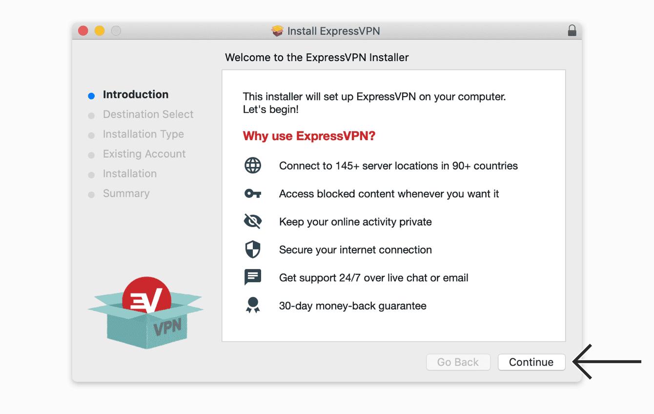 """Klik op """"Doorgaan"""" om ExpressVPN te installeren."""