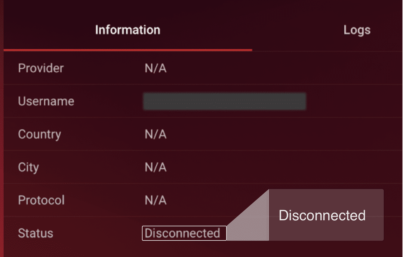 """You will see """"Disconnected"""" next to """"Status."""""""