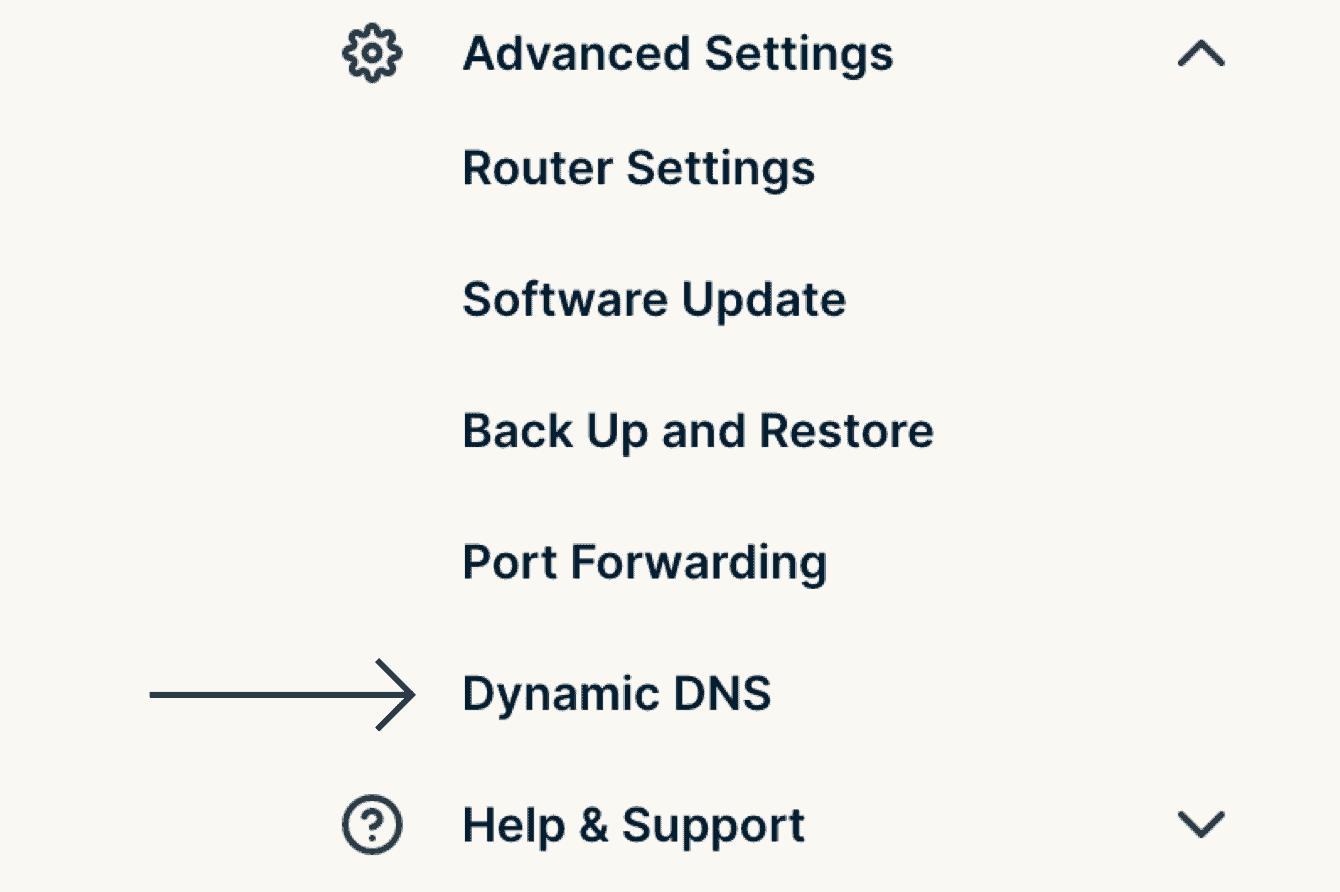 """Select """"Dynamic DNS."""""""
