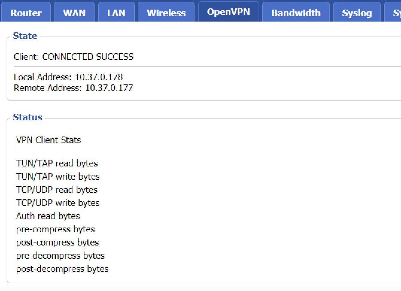 OpenVPN接続に成功しました。