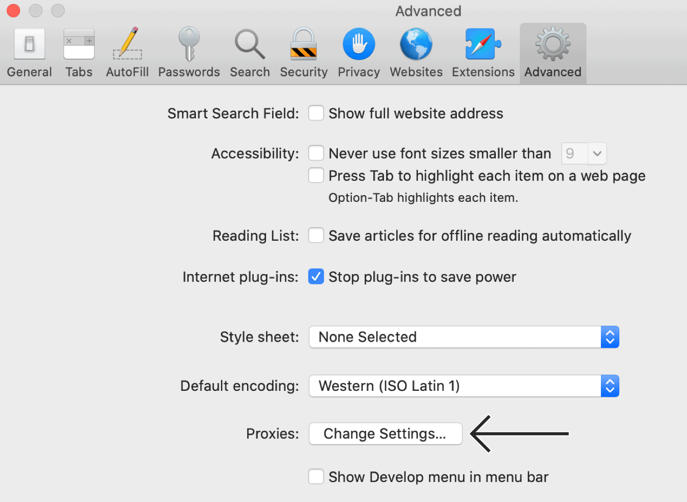 """In the """"Advanced"""" tab, click """"Change Settings…"""""""