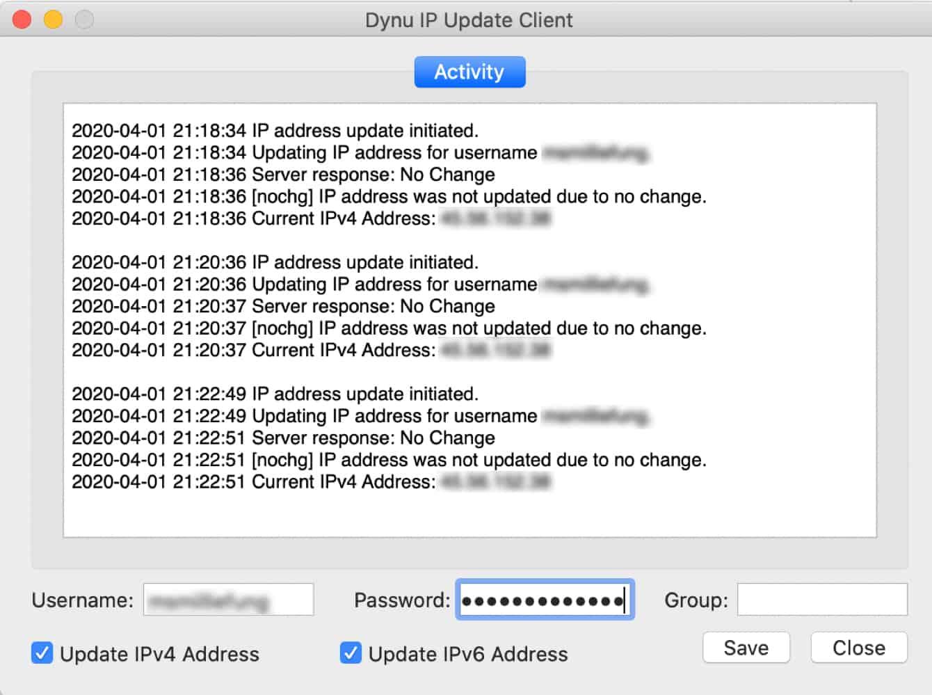 IP address activity will show immediately.