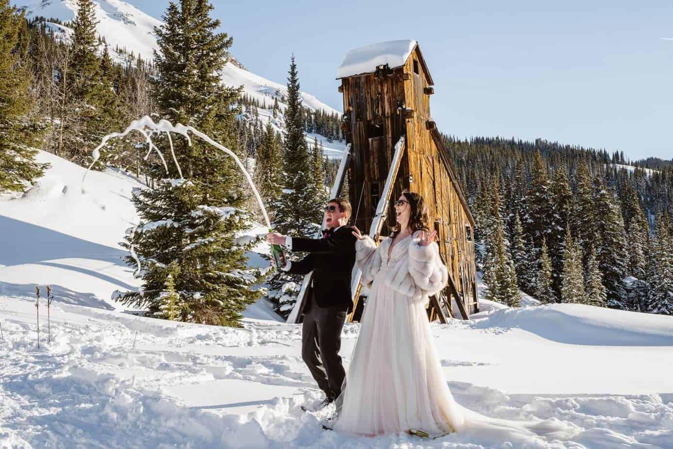 Bride and Groom Celebrating Telluride Winter Elopement