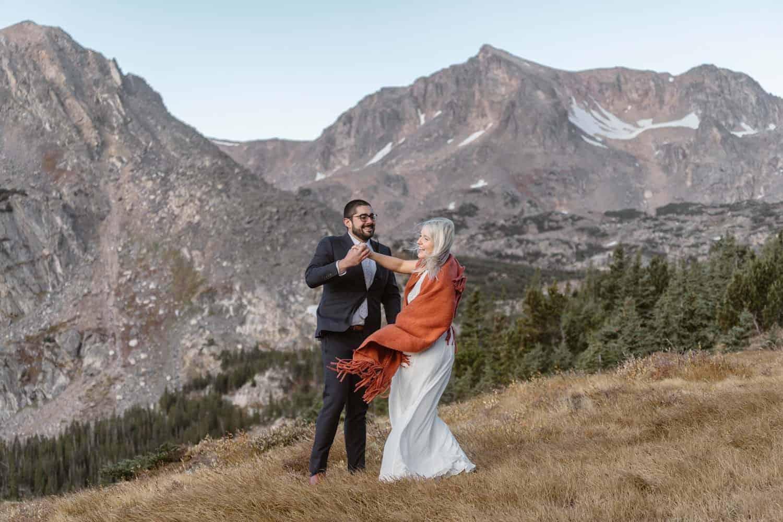 First Dance at Self Solemnizing Elopement near Boulder, Colorado