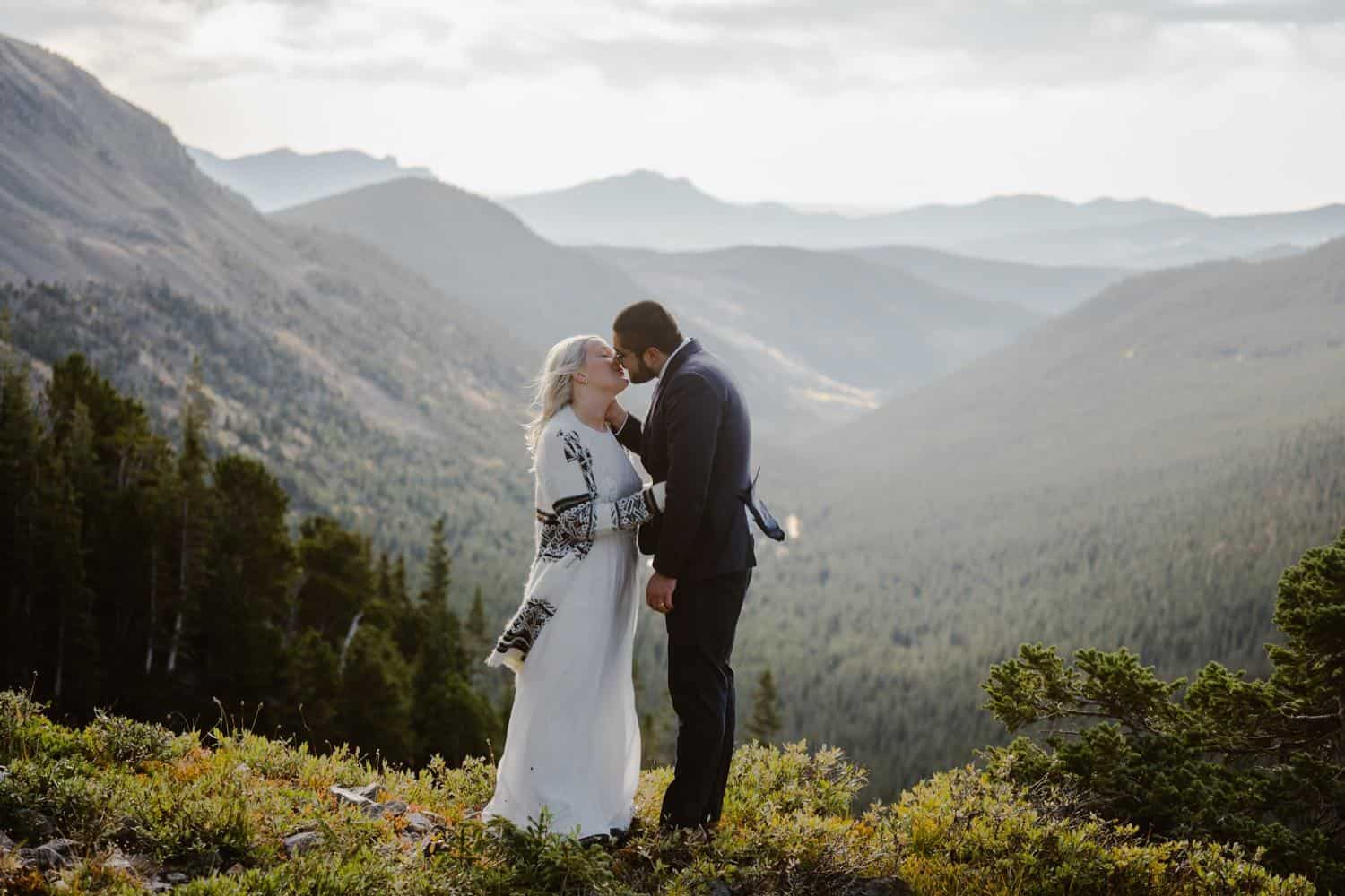 Bride and Groom Kissing at Self Solemnizing Elopement near Boulder, Colorado