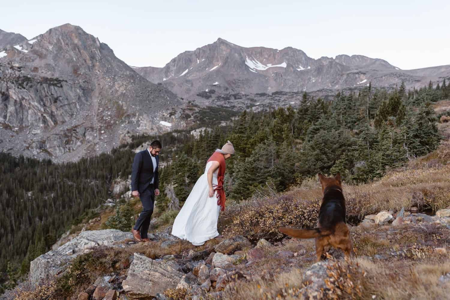 Couple Hiking at Self Solemnizing Elopement near Boulder, Colorado