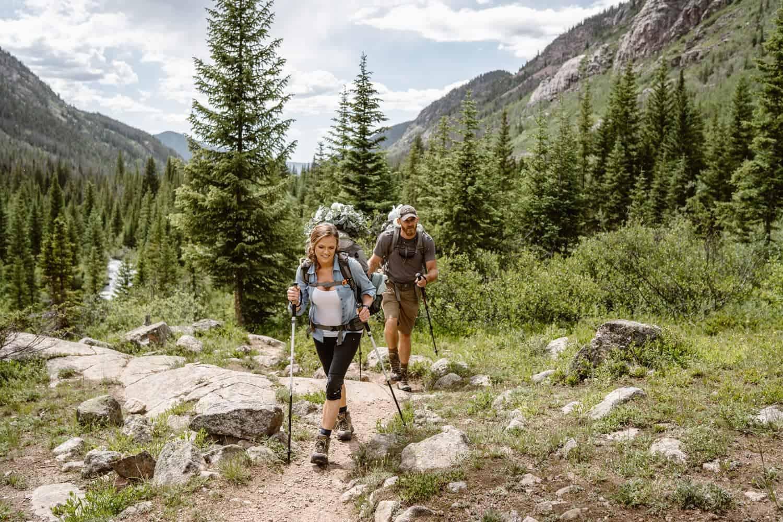 Bride and Groom Hiking Backpacking Wedding Elopement