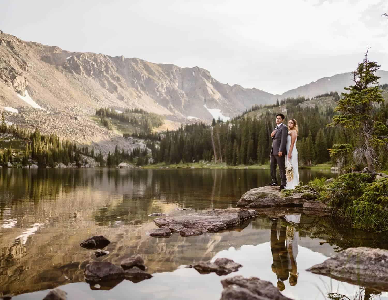 Bride and Groom at Lake Boulder Colorado Elopement