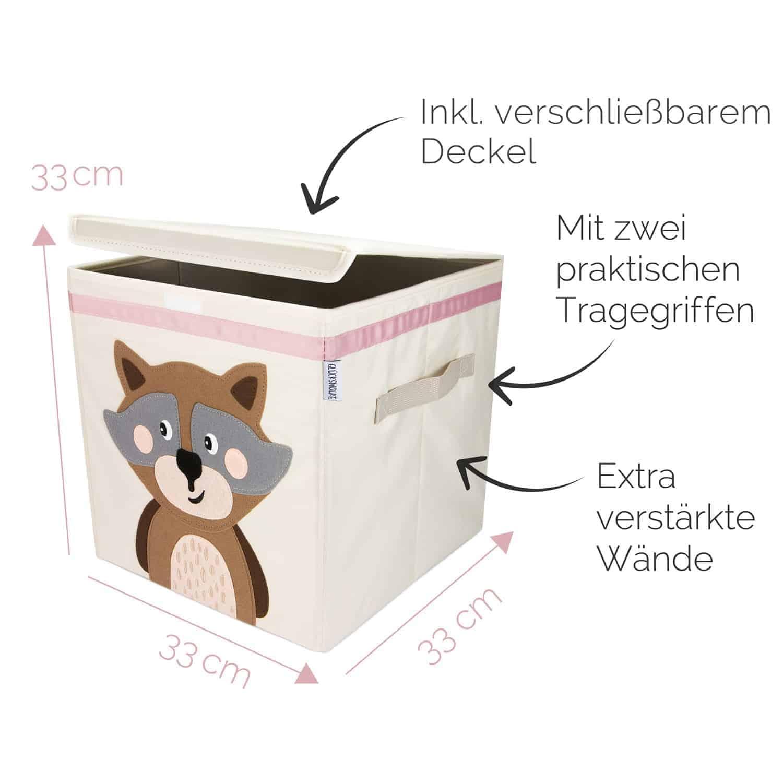 Glückswolke Spielzeugbox mit Deckel Wanda Waschbär _web