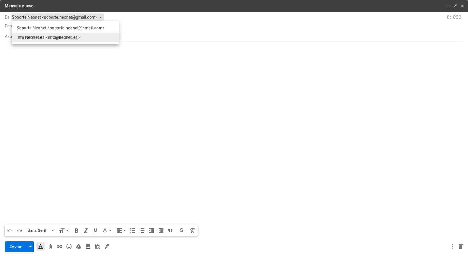 Redactar correo de empresa desde Gmail