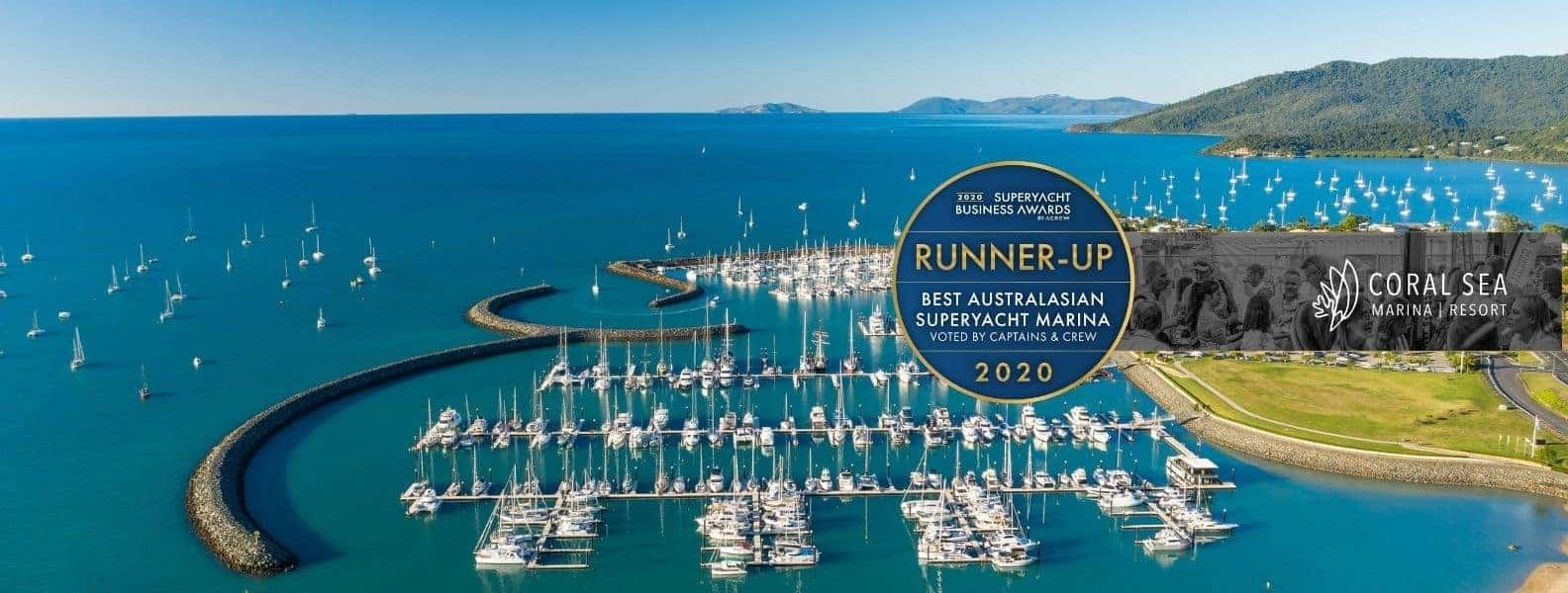 Aerial image of Coral Sea Marina Resort as the ACREW Runner Up for Best Marina