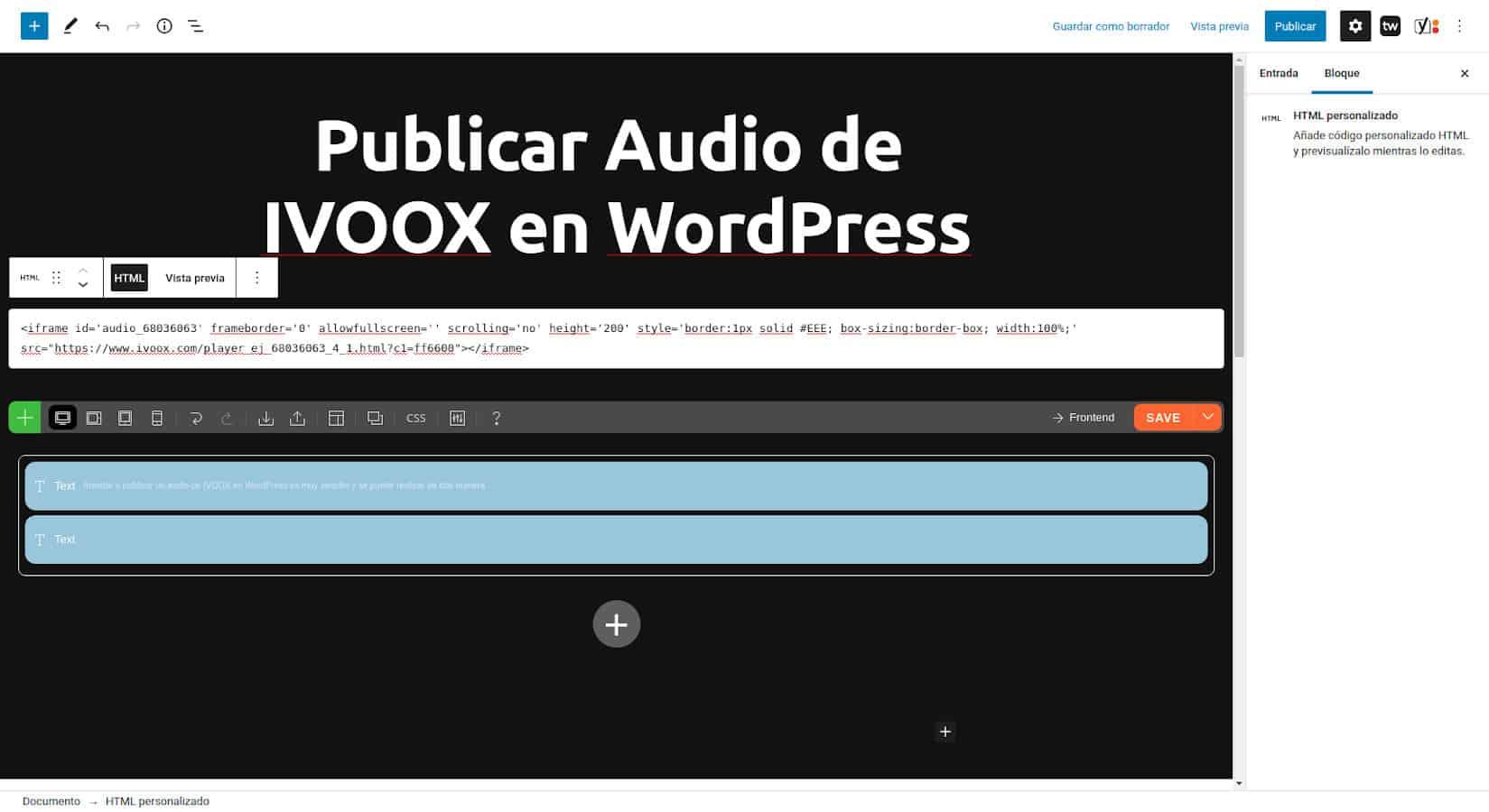 Insertar Audio de IVOOX en WordPress - Pegar código