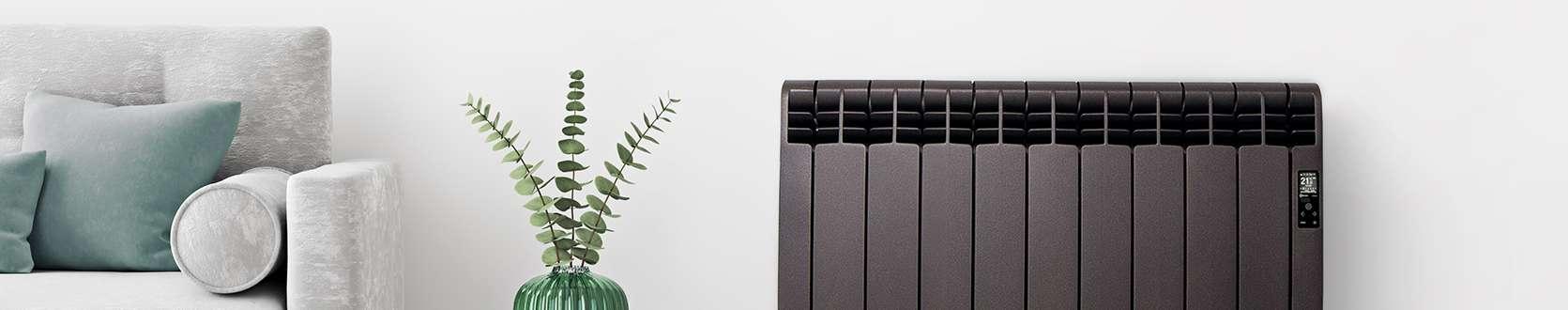 Black D Series wifi radiator in living room