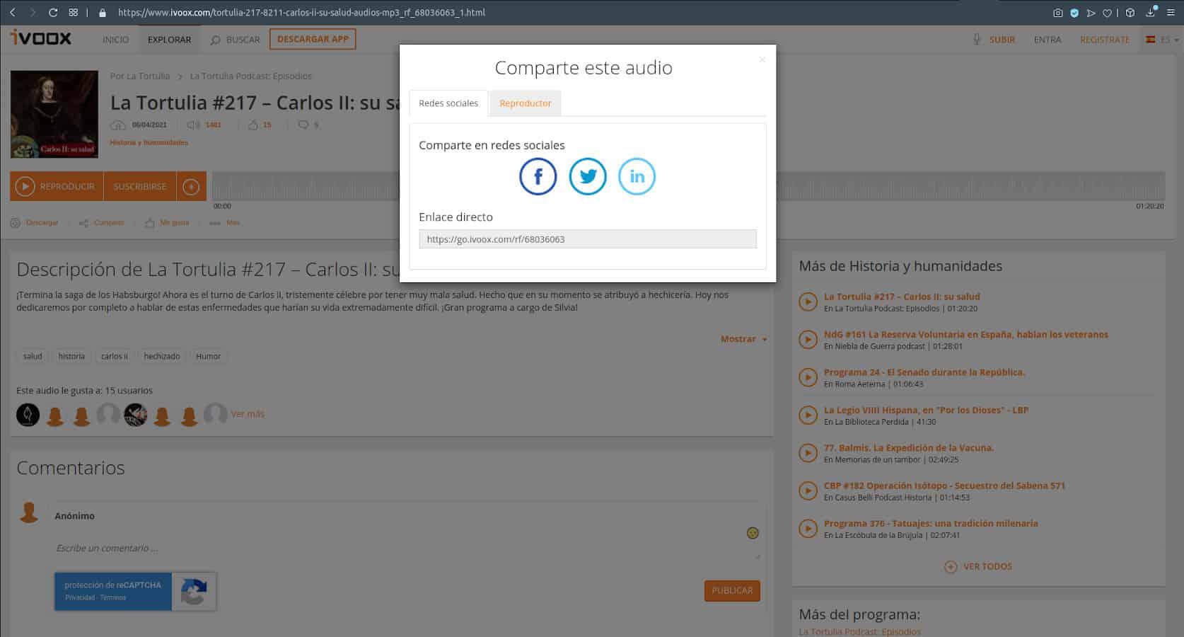 Insertar Audio de IVOOX en WordPress - Seleccionar Reproductor