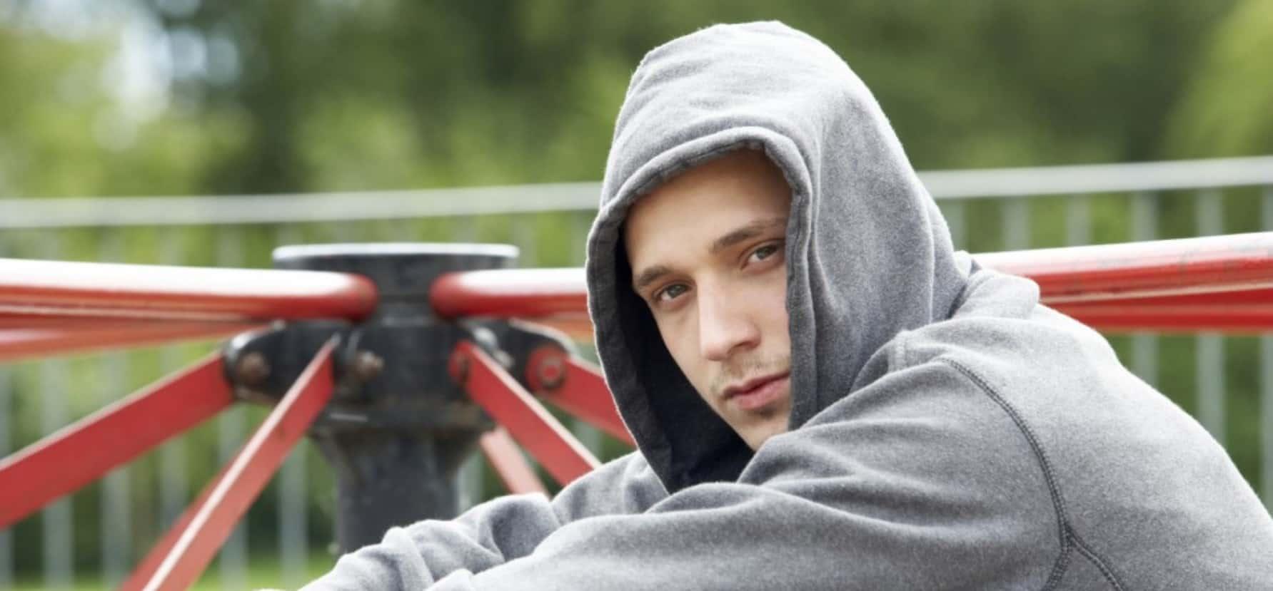 teen boy in hoodie