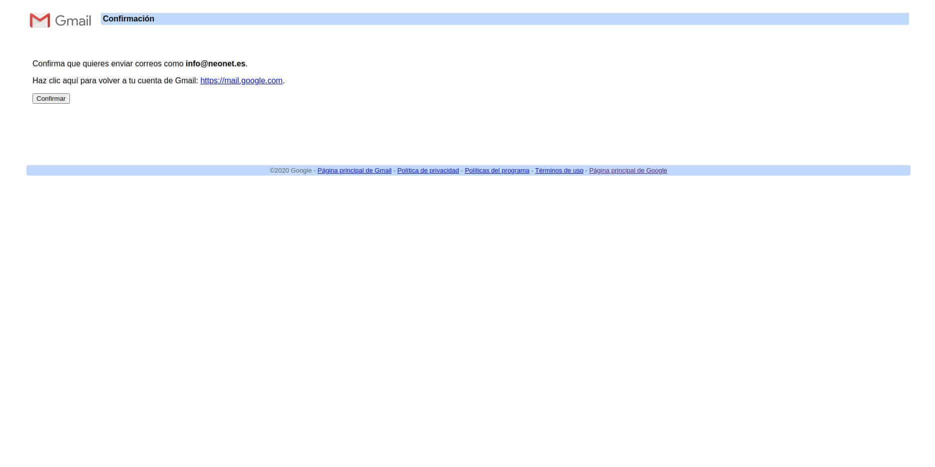 Finalizar la confirmación de envío de correo de empresa desde Gmail