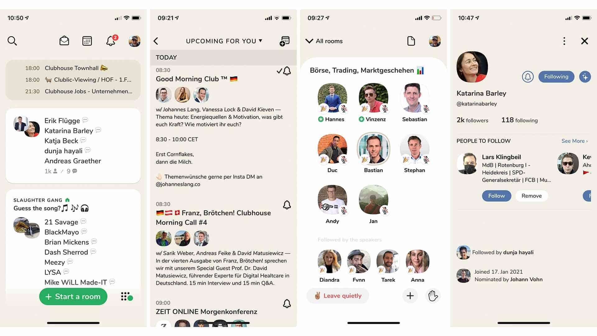 Screenshots Clubhouse-App