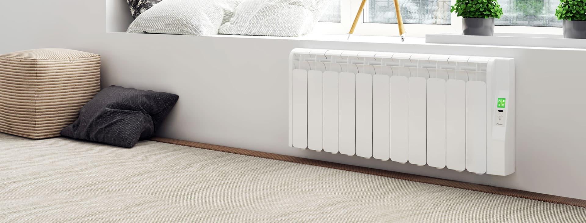 Rointe Kyros short conservatory radiator wall mounted under wall